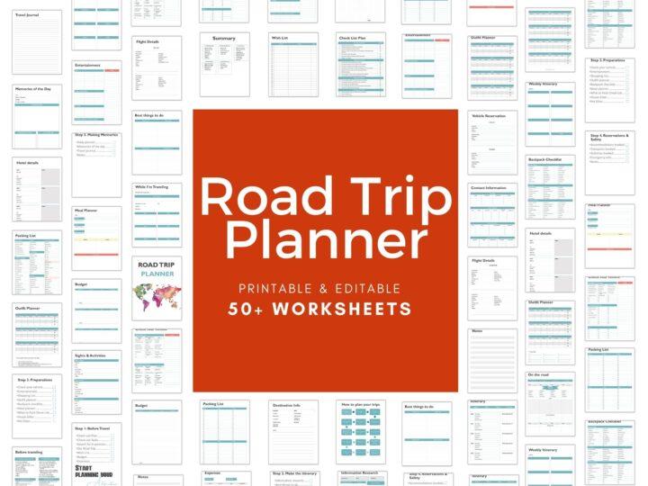 Printable & Editable road Trip planner